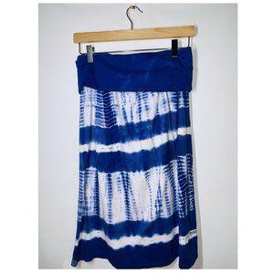 Allen Allen Blue Tie Dye Skirt Fold Over Size S